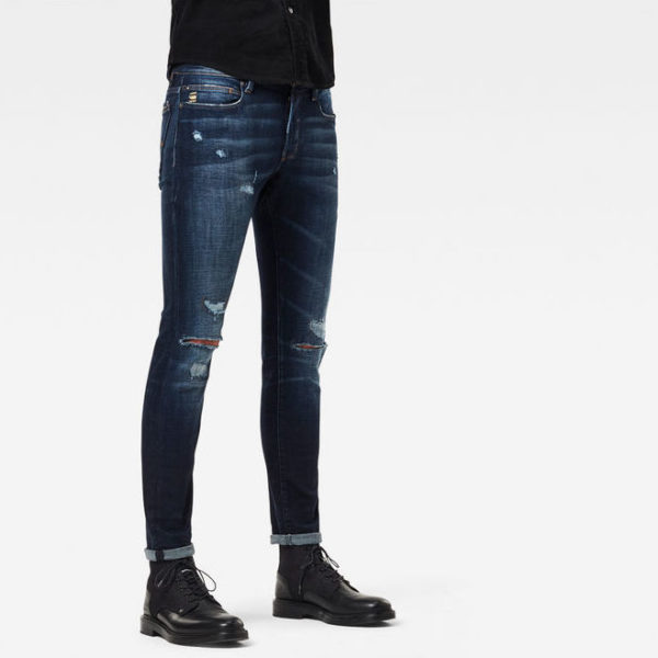 Jean G-Star Raw Lancet Skinny – D17235-c051-3846 02 – Worn In Ripped Sapphire – Heavy Elto Pure Superstretch – μπλε