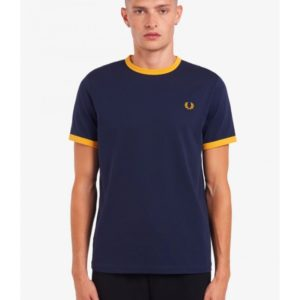 T-Shirt Fred Perry M3519-584 Ringer Tee Carbon Blue – μπλε
