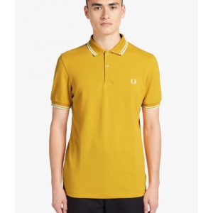 Polo μπλούζα ανδρική Fred Perry Twin Tipped M3600 K91 Gold-Snow White 160883 – κίτρινο